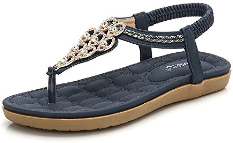 Women's Sandals Open Toe Bohemia Low Flat Heel Summer with Cross Bead Folk Sandals Boho Beach Flip Flops Elastic T-Strap Clip On Flat with Ankle Strap
