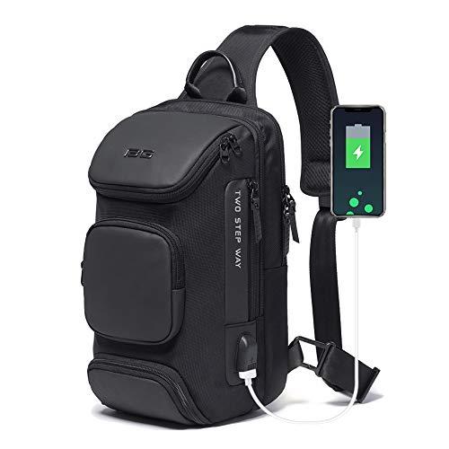 OZUKO Sling Backpack Sling Bag Crossbody Backpack Shoulder Casual Daypack Rucksack for Men- (Black1)