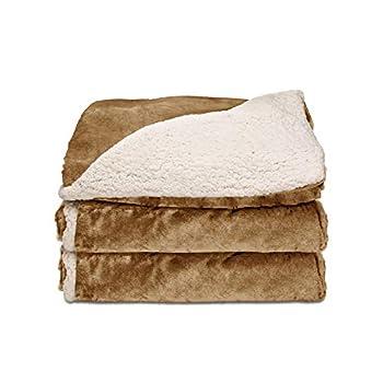 Sunbeam Heated Throw Blanket   Reversible Sherpa/Royal Mink 3 Heat Settings Honey