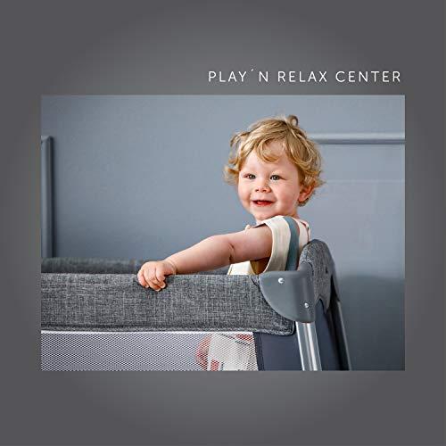 Hauck Play'n Relax Center Reisebett, 7-teiliges, ab Geburt bis 15 kg, faltbar und kippsicher, mit Neugeborenen Einhang, Wickelauflage, seitlicher Ausstieg, Netztasche, Räder, Transporttasche, grau - 23