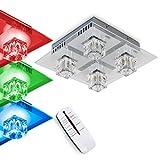 LED Deckenleuchte Ferrera, dimmbare Deckenlampe aus Metall/Glas in Stahl gebürstet, eckige Leuchte mit Glaswürfeln, RGB Farbwechsler u. Fernbedienung