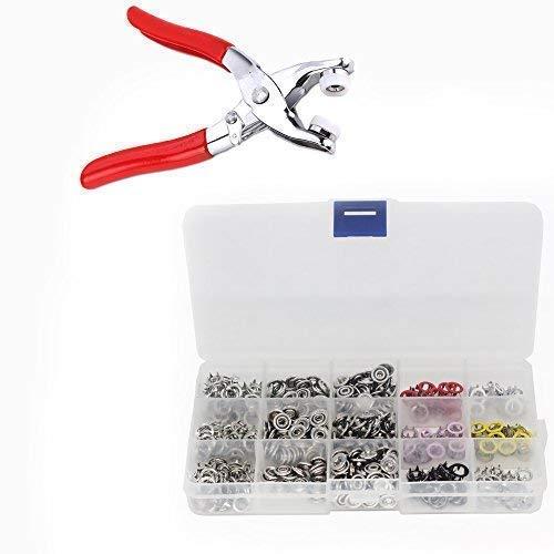 Trimmingshop 120 boutons-pression avec boucle en métal de 9,5 mm Poppers Ring Press Clamps pour sac, couture, artisanat, vêtements, pinces à presser à la main et kit de fermeture à pression