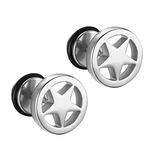 GUMONI Schmuck Herren Damen Runder Ohrstecker 1 Paar Titan Stahl Schwarz/Gold/Blau/Silber Pentagramm Ohrringe 1,0 * 0,9 * 0,9 cm(Silber)