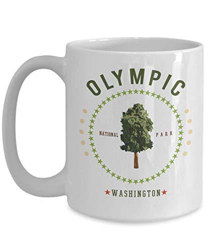 N\A Taza de café del Parque Nacional Olímpico Washington Souvenir Taza Blanca Personalizada Regalo