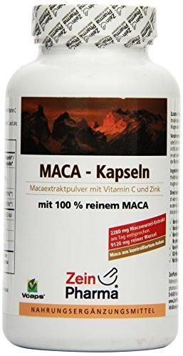 Maca Oro 570mg di ZeinPharma • 180 capsule (fornitura per 6 settimane) • Senza glutine, vegano, kosher e halal • Fatto in Germania