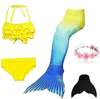 Cutiecute 3 Pcs Mermaid Swimming Suit Plus Fin for Swimming Mermaid Bathing Suits Swimsuit Bikini Set(With Garland)