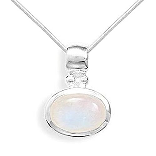 Big Sale Best Cheap Deals Oval Rainbow Moonstone Side Set East-West Sterling Silver Necklace with Snake Chain, 18-inch