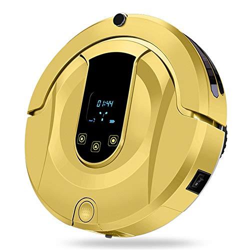 WYGC CLEANER Robot Aspirador Trapeado Auto Barrido Sensores Inteligentes Robot de Limpieza con Sensor Anti-caída y Colisión para Suelo Duroy Alfombra Delgada,Tranquilo,Pelo de Mascota (Color : Gold)