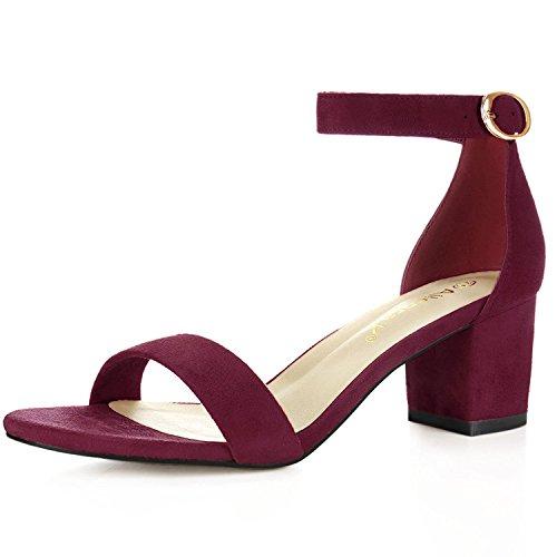 Allegra K Women's Open Toe Block Heel Ankle Strap Sandals (Size US 8.5) Burgundy