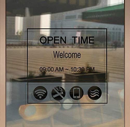 Winkel Openingstijden Aangepaste Tijd Brief Glas Deur Sign Stickers Koffie Melk Thee Winkel Winkel Venster Decoratie Muurstickers Poster