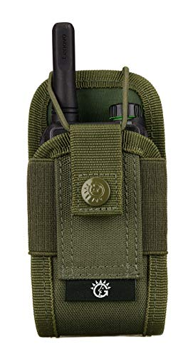 SINAIRSOFT Nylon Radio Holster, Universal Radio Case Lightweight Military Interphone Storage Bag Pouch for Molle System Walkie Talkies Holster Accessories (Army Green)