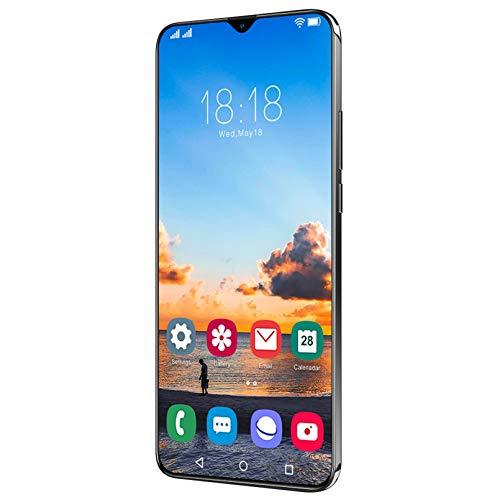 4G + 64G Smartphone 6.7'Teléfonos HD Teléfono Celular Huella Digital Desbloqueo Facial Cámara Dual 5G Android Smart HD Pantalla Táctil,Black