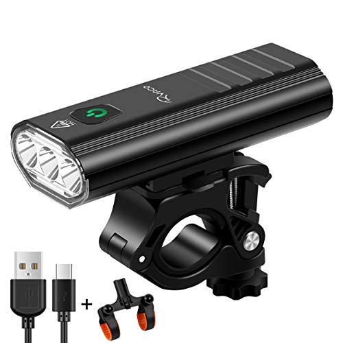 Ryaco Luz de Bicicleta, Faro de Bicicleta con 3 Leds de 2400 lúmenes, Faro de Bicicleta de Bicicleta Recargable por USB con 5200 mAh de Capacidad con función de batería Externa (Tres Rayas Negras)