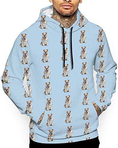 geckor Englische Bulldogge Unisex Hoodie Neuheit Coole Langarm Pullover Große Taschen Mit Kapuze Lustiger Druck Sweatshirt M