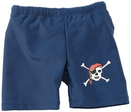 Playshoes Jungen UV-Schutz Shorty Pirat Badehose, Blau (791 blau/grün), 74/80
