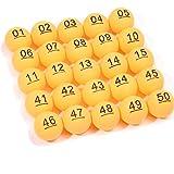 BIGTREE Lot de 50 Balles de ping-Pong Orange avec Numéro pour la Décoration de Fête Balles de...