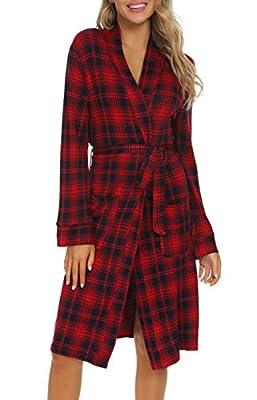 Costyleen Women Plaid Bathrobe Kimono V Neck Sleepwear Pocket Long Spa Robes Red XL