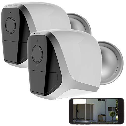 VisorTech Kamera außen: 2er-Set Full-HD-IP-Überwachungskameras mit App und Akku-Betrieb, IP65 (WLAN Kamera Outdoor)