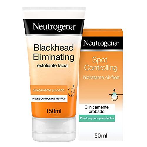 Neutrogena Blackhead Eliminating Tónico Limpiador con Ácido Salicílico Purificante, Pieles con Puntos Negros, 150 Mililitros + Spot Controlling Hidratante Facial, 200 Mililitros
