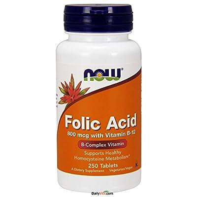 Now Folic Acid with Vitamin B-12 (800mcg) 250 tabs by NOW Foods
