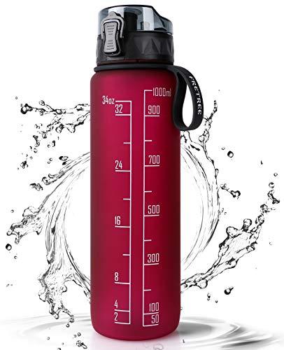 FRETREE Trinkflasche 1L Sport Wasserflasche - [Trinkflasche BPA Frei] Trinkflasche mit rutschfest Gummi Grip Geeignet für Die Fahrrad, Outdoor, Schule, Gym (Rosenrot)
