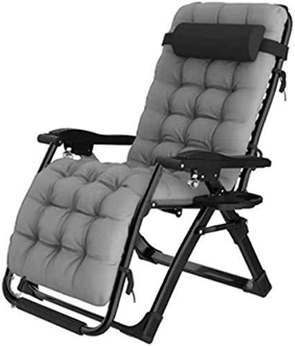 HaoLi Sun Lounger Recliner Chair Relaxer mit Getränkehalter | Klappbare Gartenstühle mit gepolstertem Kissen und Fußstütze Sessel für Wohnzimmer Lazy Boy Grey