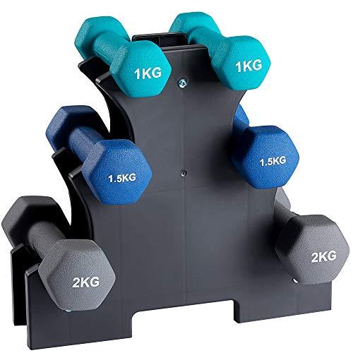 Kurzhanteln Fitness Hanteln 6er Set Hantelset mit Hantelständer, 2 x 1 kg, 2 x 1,5 kg, 2 x 2 kg für Gymnastik, Aerobic, Pilates Fitness Krafttraining für Frauen, zu Hause Fitnessstudio