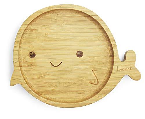Plato Bambu de Ballena con Ventosa ~ Hecha de Bambú Natural ~ Plato de alimentación para bebés y niños pequeños con un aro de succión fuerte