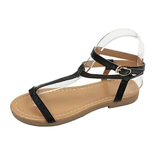 Yesmile Sandales Femmes Plates Tropeziennes, Mode D'éTé Casual Rome Boucle Sangle Plat Des Femmes Sandales Open Toe Chaussures
