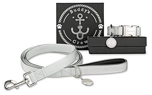 Buddy´s Crew Designer Hundehalsband/Halsband mit Leine aus Nylon mit Metallverschluss & Anhänger