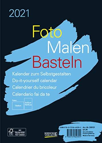 Foto-Malen-Basteln Bastelkalender A5 schwarz 2021: Fotokalender zum Selbstgestalten. Aufstellbarer do-it-yourself Kalender mit festem Fotokarton.