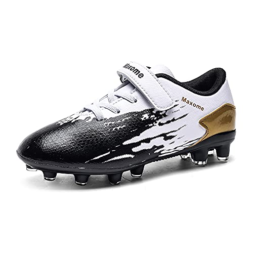 Boys Football Boots Kids FG AG Soccer Training Shoes Running Shoes Cleats Shoes Outdoor Football Shoes Sneakers for Unisex Black Gold