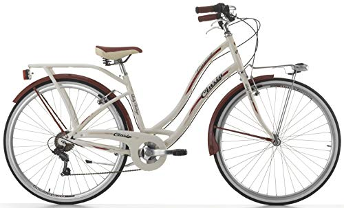 Cicli Cinzia Bicicletta 28' Citybike Carosello Donna 6/V Revo Shift V-Brake Alu. Panna