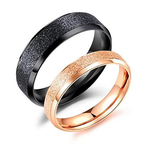 Daesar Verliebte Ringe Edelstahl Verlobungsringe Matt Rund Breite 4 MM 6 MM Hochzeitsringe Schwarz Rosegold Freundschaftsringe für 2 Damen Gr.52 (16.6) + Herren Gr.62 (19.7)