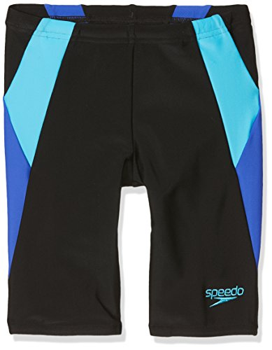 Speedo Jungen Colour Block Jammer, Schwarz/Amparo Blau/Türkis, 13-14 Years