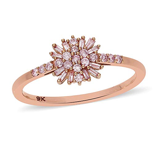 TJC Natural Pink Diamond Cluster Ring for Womens in 9ct Rose Gold Wedding/Anniversary Jewellery Size N April Birthstone, TCW 0.26ct