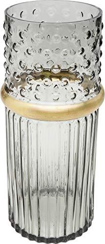 Kare Design Vase LA Grau 32cm, Glasvase mit Dekoring in Gold, Vase aus gefärbtem Glas in Zylinderform, verschiedene Ausführungen erhältlich (H/B/T) 32x14x14cm
