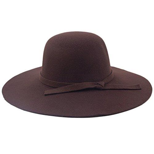 chendongdong–Mujeres Damas Vintage fieltro lana tapas de ala ancha Bowler Bombín cubo sombreros Fedora, Coffee,...