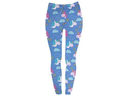 Alsino Leggings Gym Einhorn Leggins - Größe: One Size - Stretch Hose für Damen mit Muster, Hellblau (LEG-123)