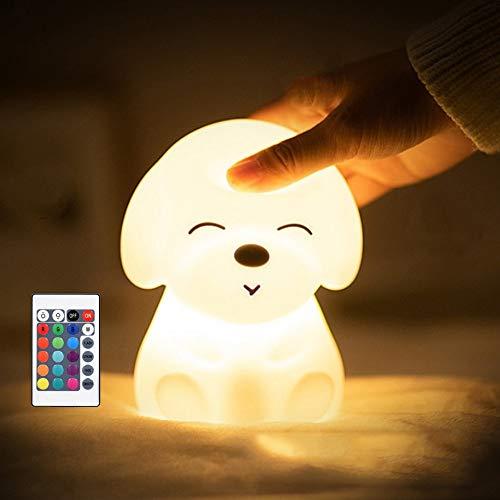 LED Nachtlicht für Kinder,Attoe Wiederaufladbare USB Silikon Kinder Lampe,Touch und Fernbedienung Control,dimmbar mit Warm-Licht und Farbwechsel Modi Nachtlichter für Kinder/Schreibtisch (A)