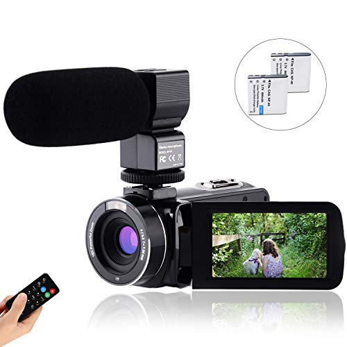 CofunKool Video Camera Camcorder 1080P 30FPS Full HD YouTube Vlogging Camera 36MP 3.0 inch IPS Touch Screen IR Night Vision Video Recorder with Remote Control Battery Charger 2 Batteries