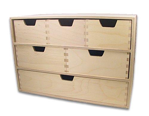 MidaCreativ Schubladen-Regal, Schubladen-Kommode, mit 6 Schubladen, Holz unbehandelt