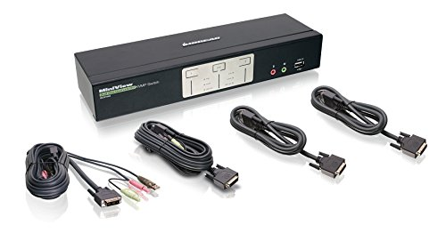 IOGEAR 2-Port Dual View Dual Link DVI KVMP Switch with Audio, w/Full Set of Cables (GCS1642 TAA Compliant)