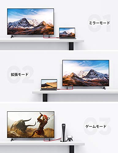 hdmiケーブル2m/4k60hzhdmi2.0規格AppleTV,FireTVStick,PS4/3,Xbox,NintendoSwitchなど適用HDR/3D/18Gbps高速イーサネット対応パソコンの画面をテレビに映す