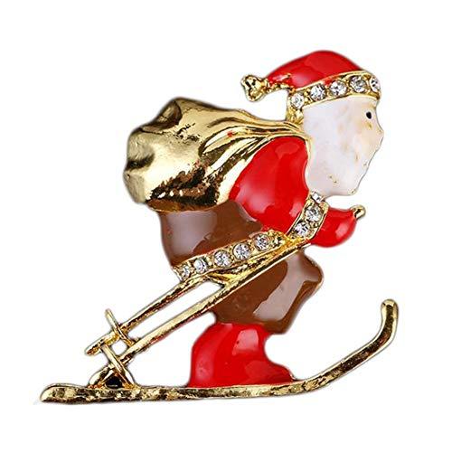 Ogquaton 1X Brosche Weihnachtsmann Ski Frauen Corsage Hochzeit Braut Pin Kleid Schals Schal Clip Dame Schmuck Tasche Ornament Langlebig und nützlich
