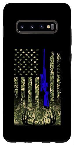 Galaxy S10+ Back the Blue American Flag Deer Hunter Hunting Case