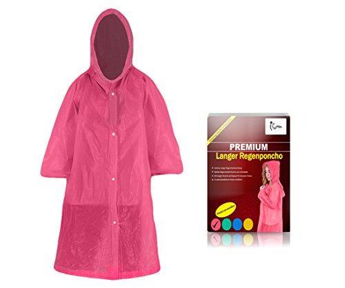 Worldsteps Regenponcho lang mit Kapuze für Erwachsene (1,60m bis 2,00m) - Stabiler Langarm Regenponcho wiederverwendbar (pink)