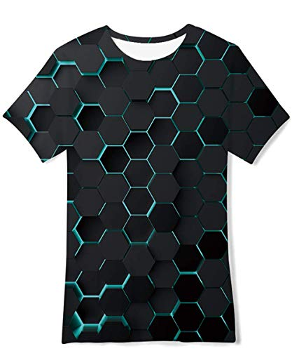 Boys Girls 3D Graphic T-Shirt Cool Casual Short Sleeve Tee Tops for Summer 6-16 Years B2 Whirlpool*2 10-12 Years