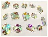 BrillaBenny Mix Pietre Strass da Cucire Aurora BOREALE - Pietra 2 Fori Piatta da Cucire AB Crystal Goccia, Quadrato, Fiore, Baguette, Rivoli, Oval (70)