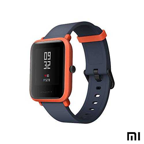 Amazfit Bip Xiaomi Sports Smartwatch - GPS Sports Watch | Aktivitetsövervakning | Pulsmätare | Konditionsträning | Sportklocka (internationell version) Röd